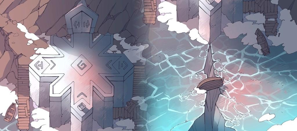 Ice Temple frozen lake RPG battle map, dawn banner