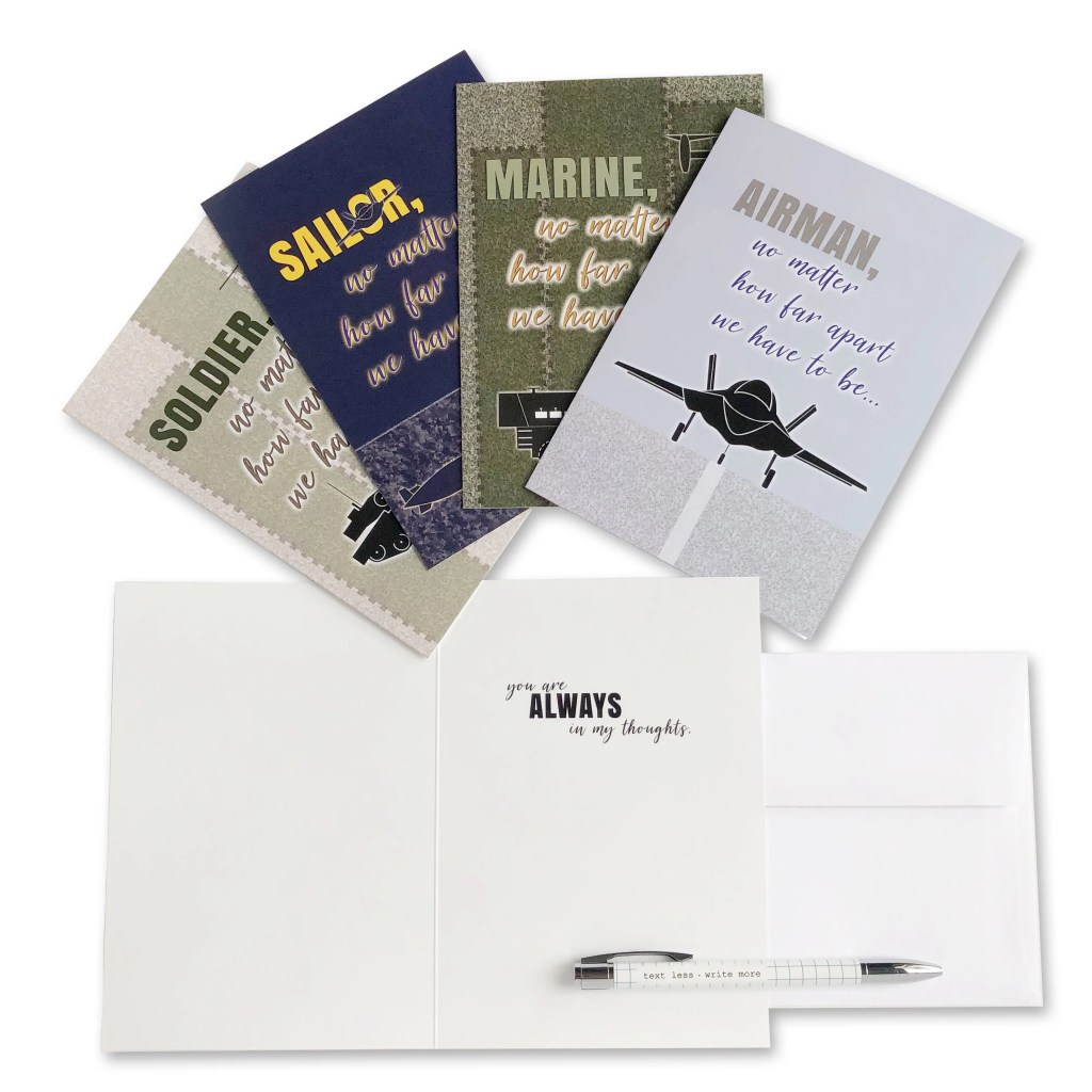 No Matter How Far Apart - Military Deployment Appreciation Greeting Card for Soldiers, Sailors, Marines and Airmen - includes envelope - by 2MyHero