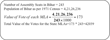 Process for calculating the Value of MLA vote