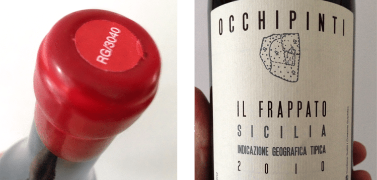 2010 Occhopinti Il Frappato: wax seal and label