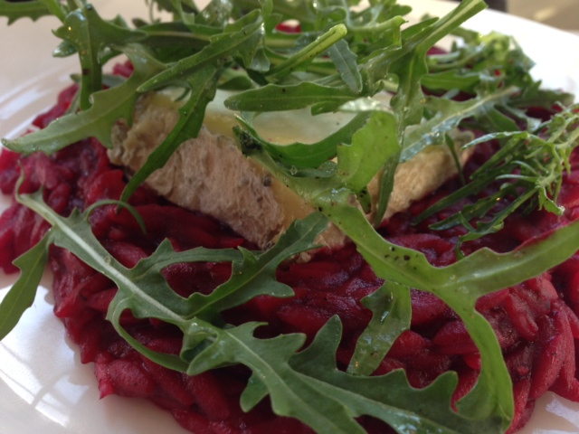 beetroot risoni and goats cheese