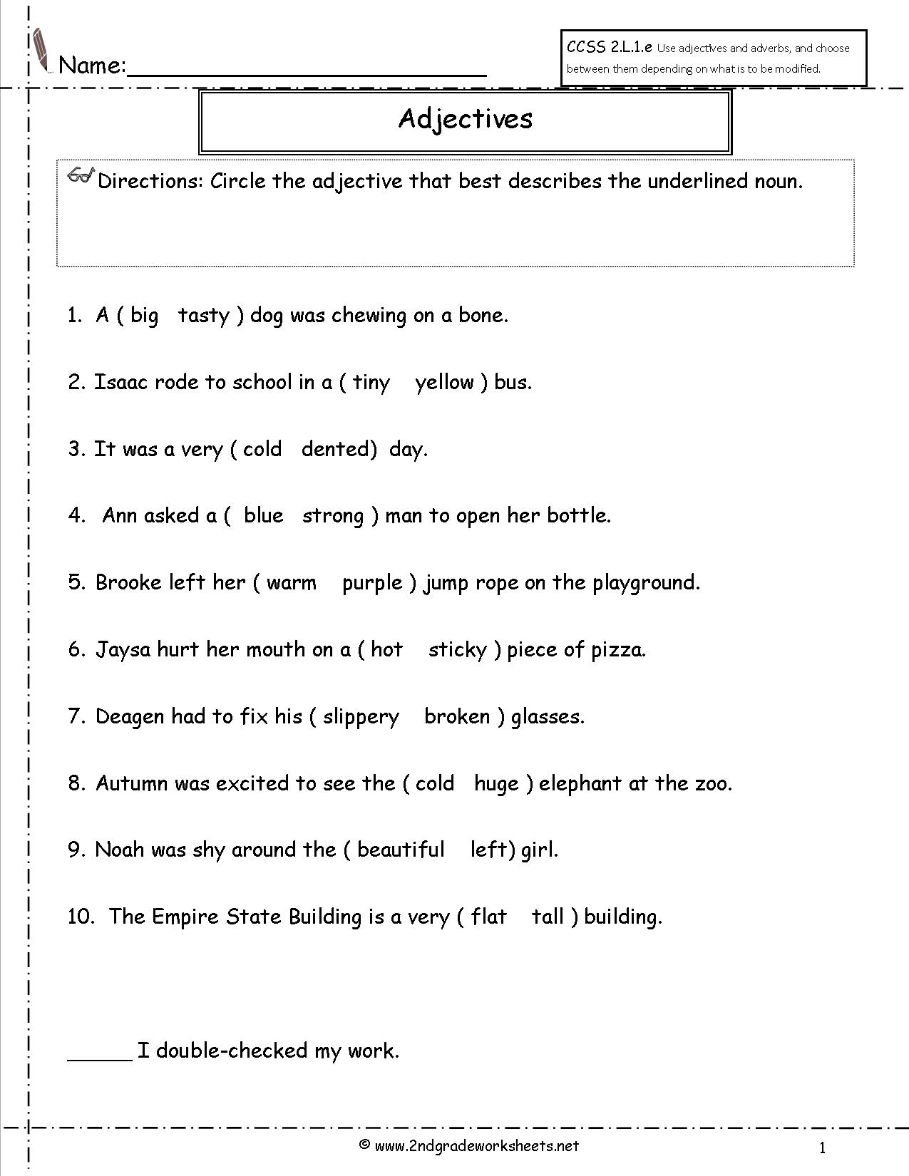 hight resolution of Free Using Adjectives Worksheets