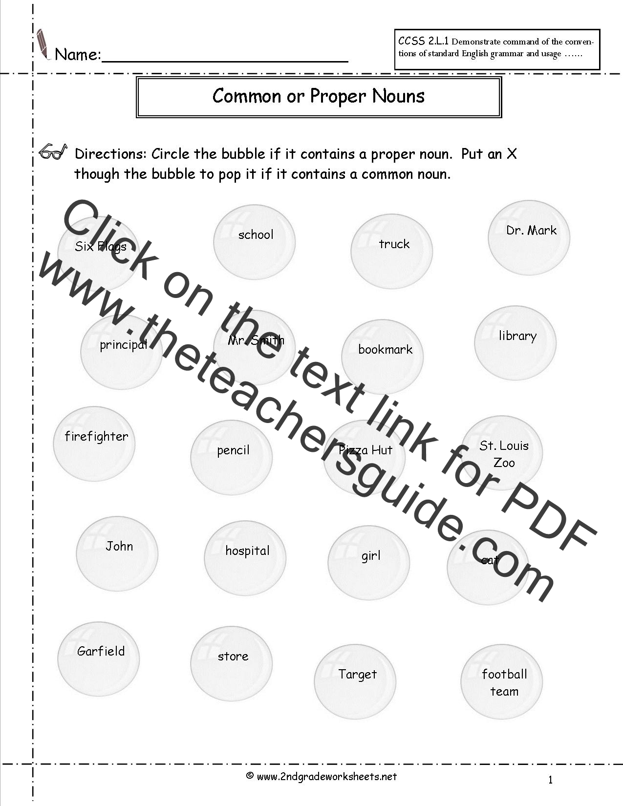 Common And Proper Nouns Worksheet