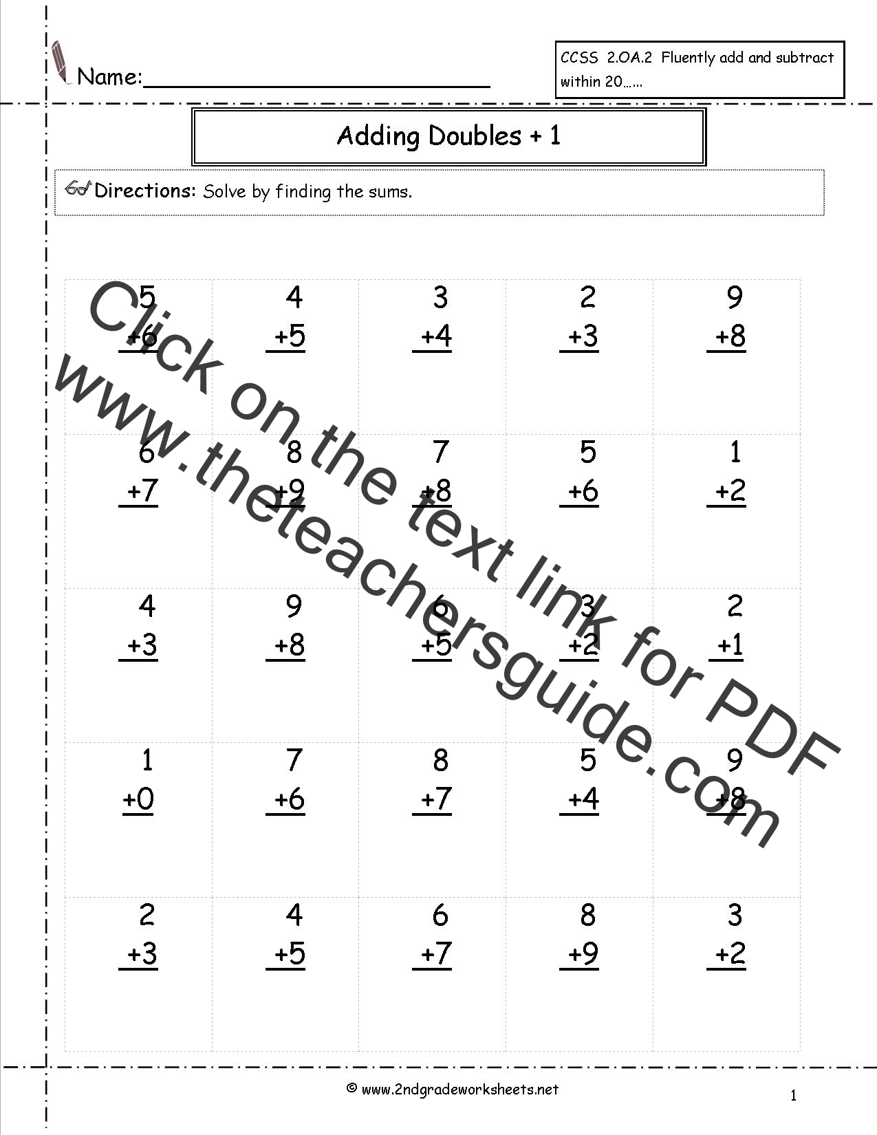 New 852 First Grade Math Worksheets Doubles Plus One