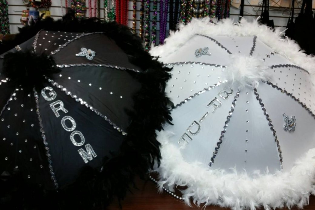 Bride and Groom Second Line Umbrellas