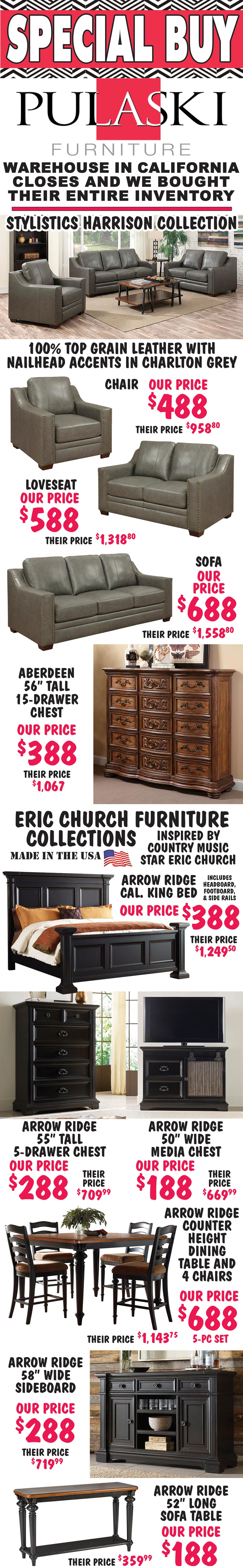 Eric Church Furniture : church, furniture, Leather, Sofas,, Loveseats,, Chairs, Church, Bedroom, Dining, Furniture