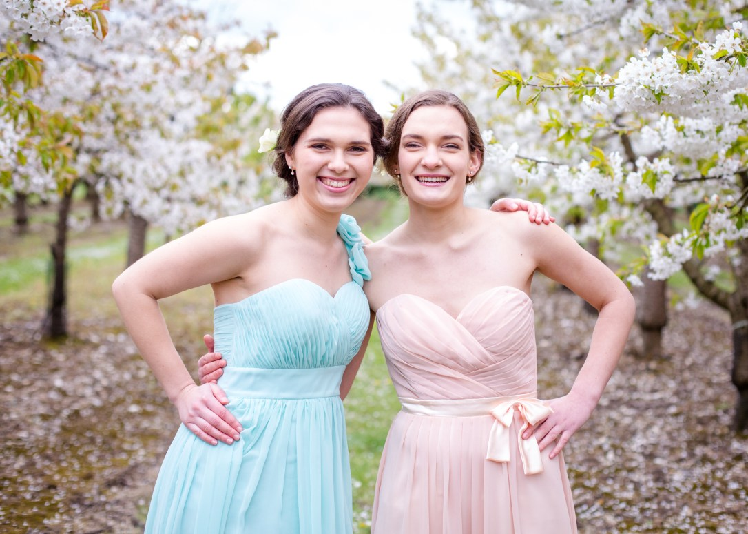 Two wedding harpist sisters in orchard, cherry blossom