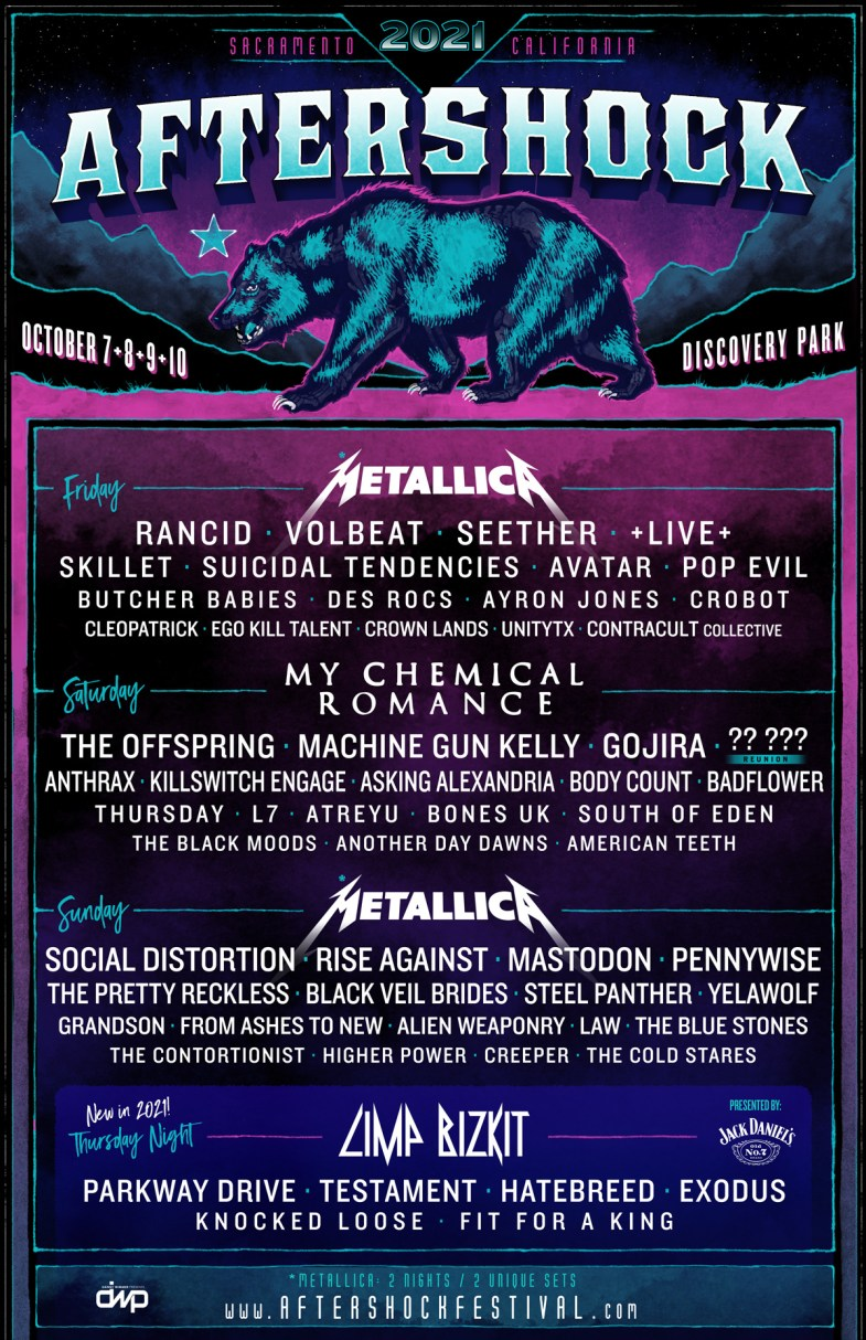 Aftershock Festival 2021 | Metallica, My Chemical Romance, Limp Bizkit &  More
