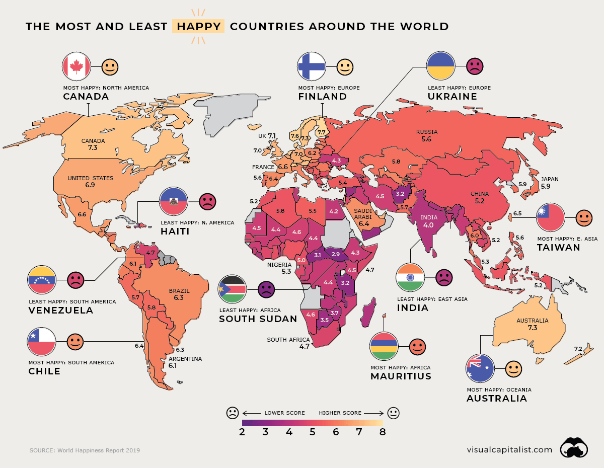 Info Visualizing The Happiest Country On Every Continent