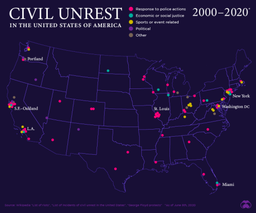 Mapping Civil Unrest in the United States (2000–2020)