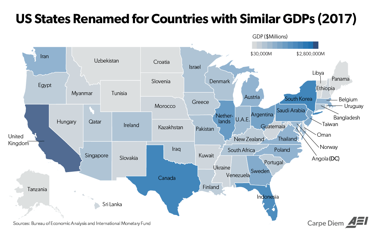 This Map Compares the Size of State Economies with Entire Countries