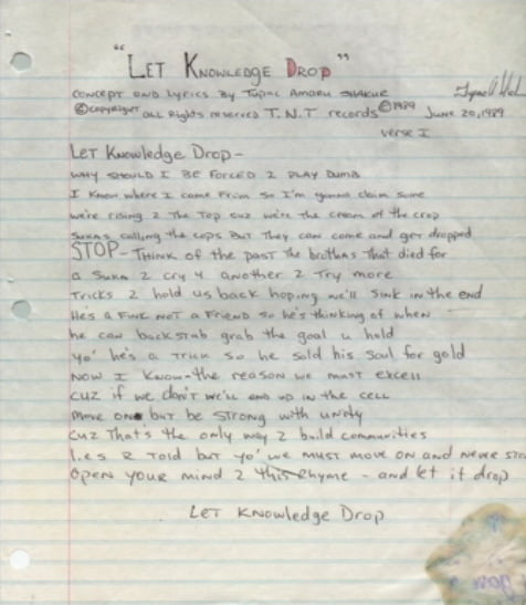 Let Knowledge Drop 2pac handwritten