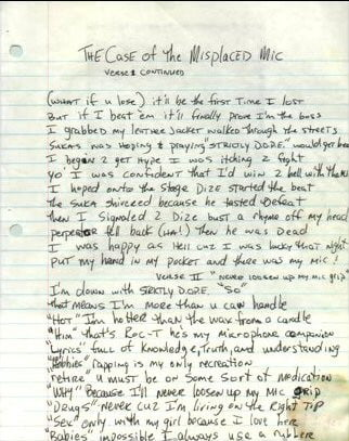 The Case Of The Misplaced Mic (Verse 1 Part 2) Tupac's Handwritten Lyrics