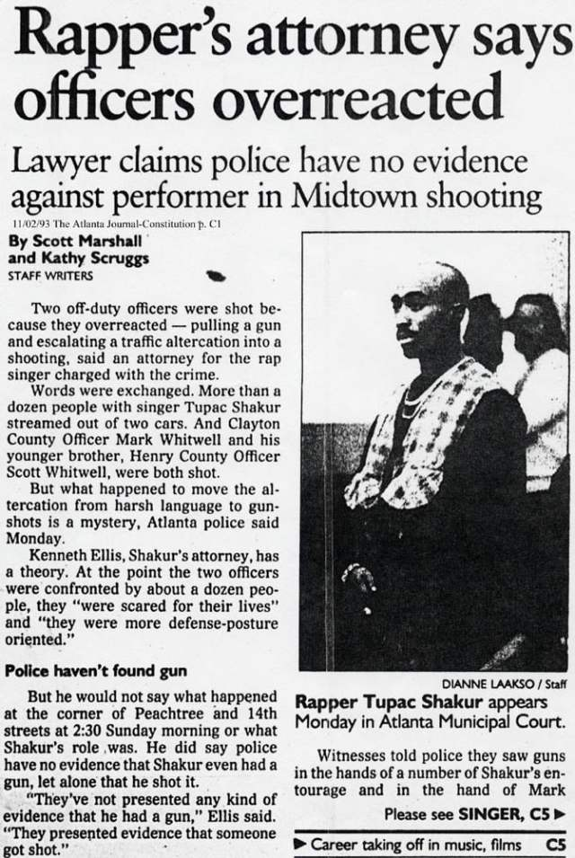 1993-11-01  Charges Filed Against Tupac For Shooting Two off Duty Police Officers In Atlanta, GA.