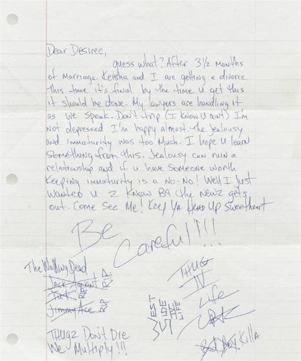 Letter To Desiree Smith (August 15, 1995)- Tupac's Handwritten Letter