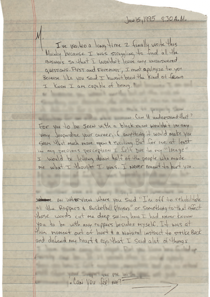 Tupac letter to Madonna page 1   2Pac Legacy