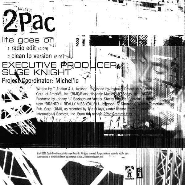 2Pac - Life Goes On (Single, Promo), 1998 | 2PacLegacy net