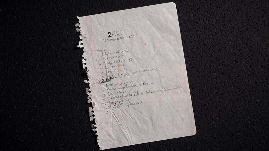 Tupacs Handwritten Tracklist for ''Troublesome'' | 2Pac