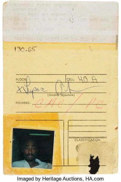 Tupac Shakur Signed Floor Locator Card With Picture and Fingerprint (1994).