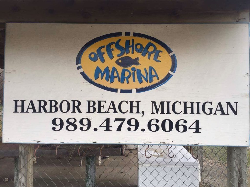 Harbor Beach, Michigan Offshore Marina sign.