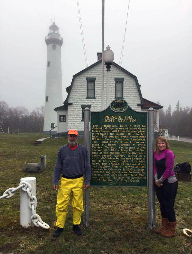 Joe and Peggy posing by the Presque Isle Light Station.