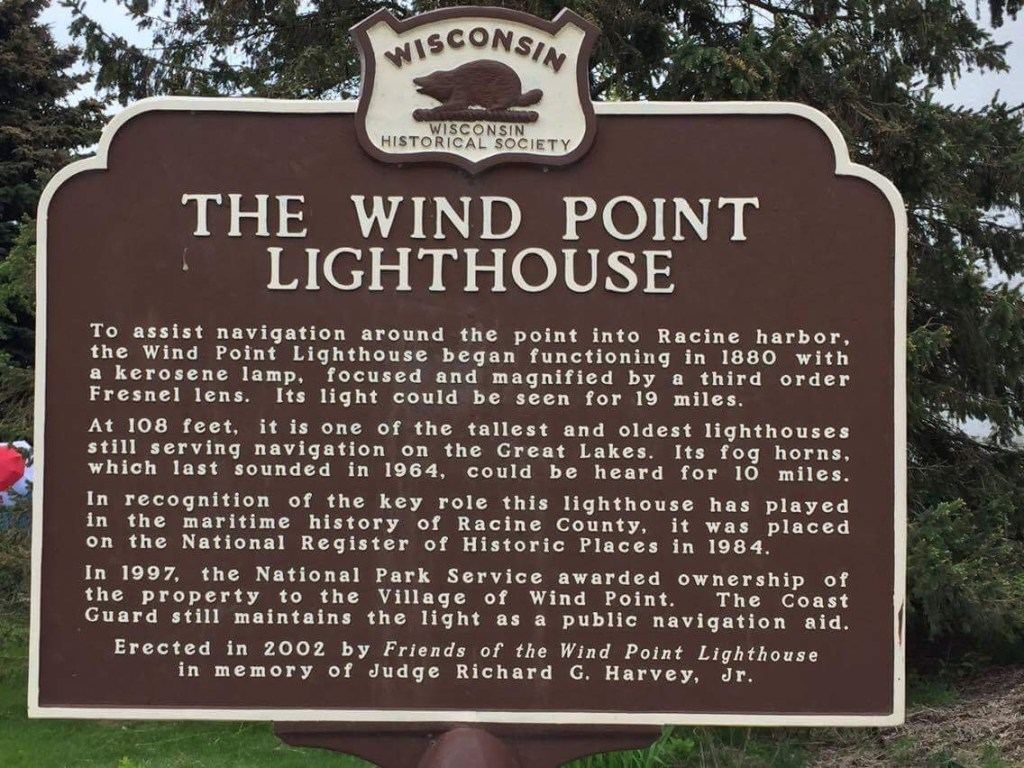 The Wind Point Lighthouse sign.