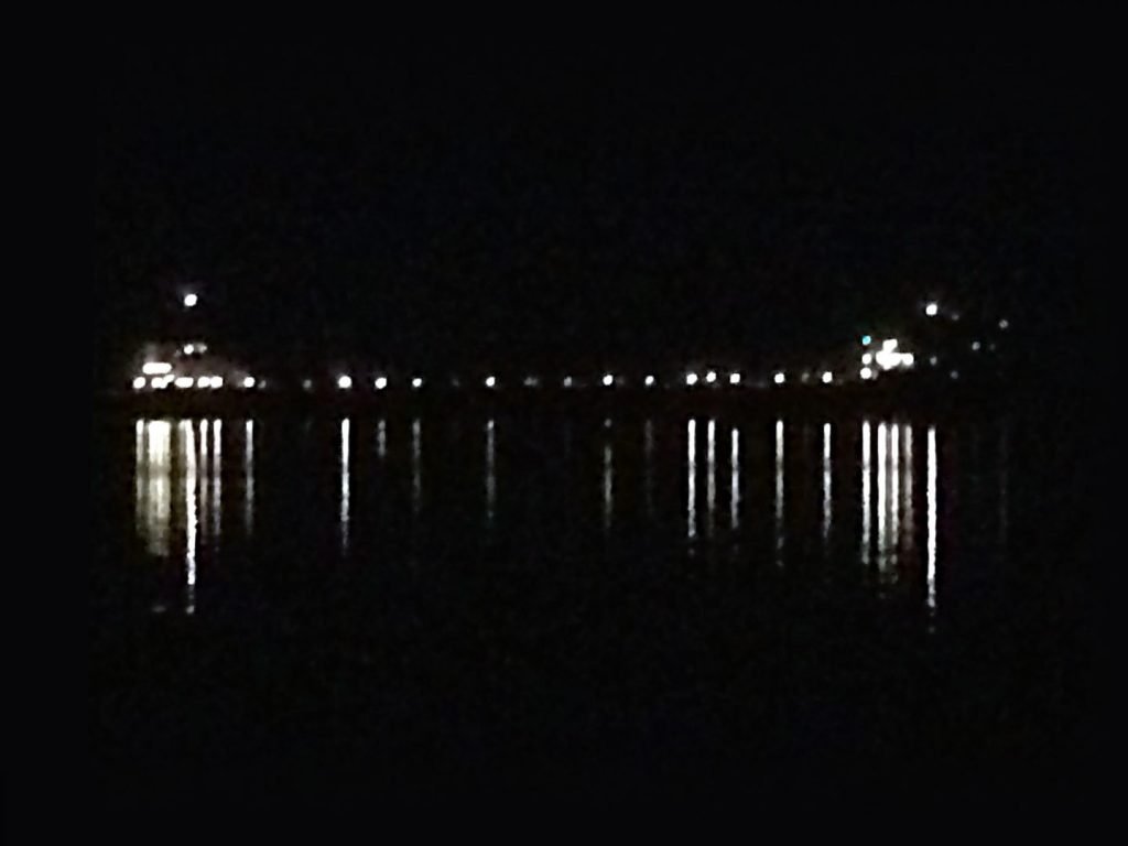 Large ship all lit up at night viewed from Dunbar Park, Michigan.