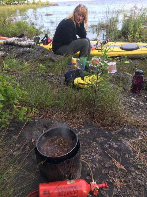 Peggy eating a supper of Native brand wild rice.