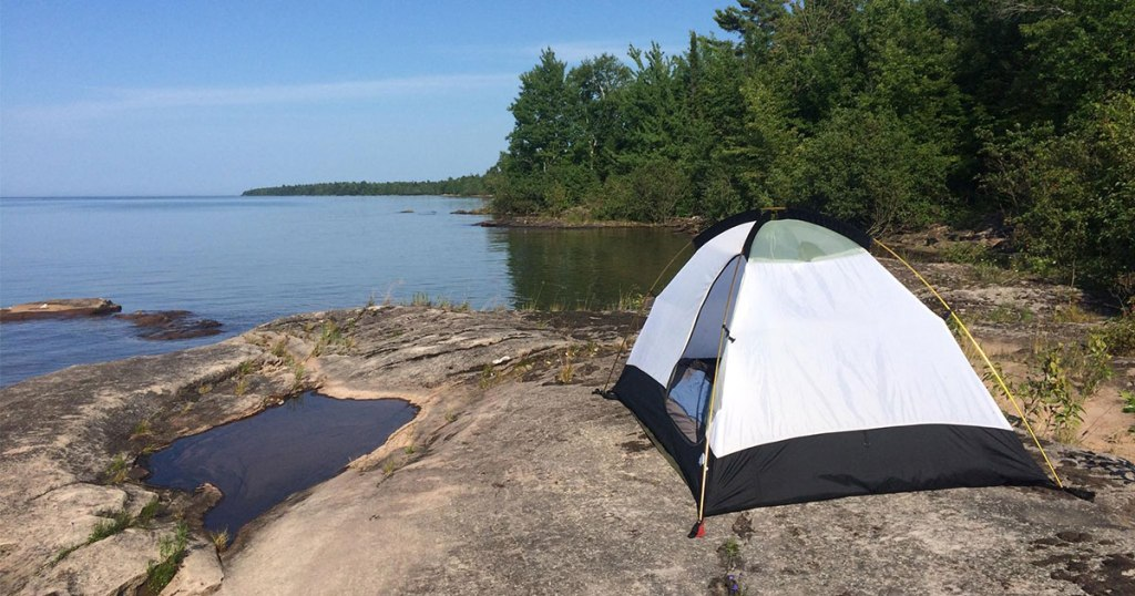 Camping on a rock on Lake Superior.