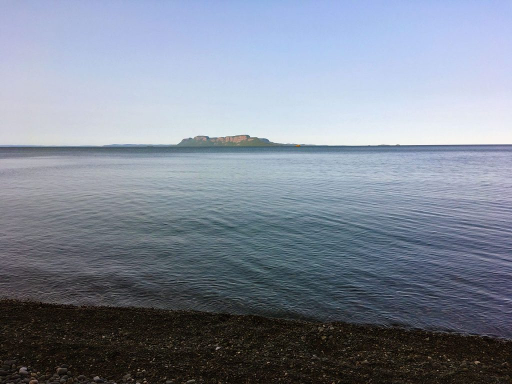 Sleeping Giant in the distance as viewed from Pie Island, Ontario, Canada.