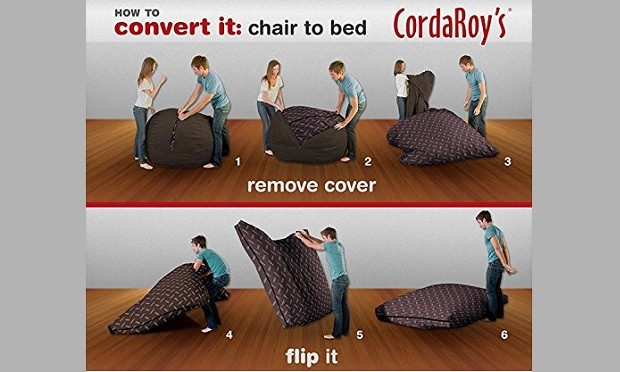 chair to bed convertible linen parson slipcovers cordaroys – what happened the bean bag chairs on shark tank?