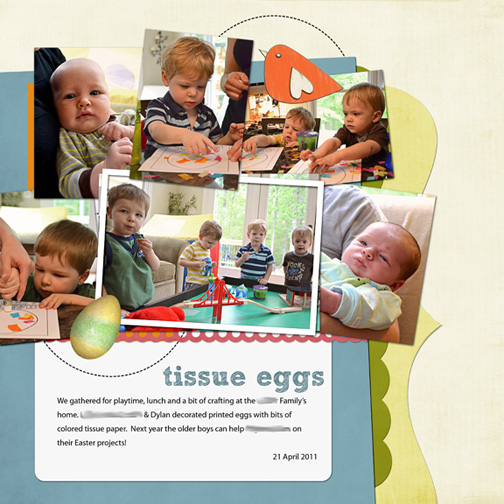 Tissue Paper Eggs: digital scrapbooking page