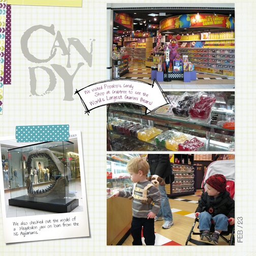 Crabtree Mall: Candy - World's Largest Gummy Bears digital scrapbooking page