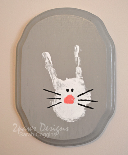Easter Bunny Handprint Plaque
