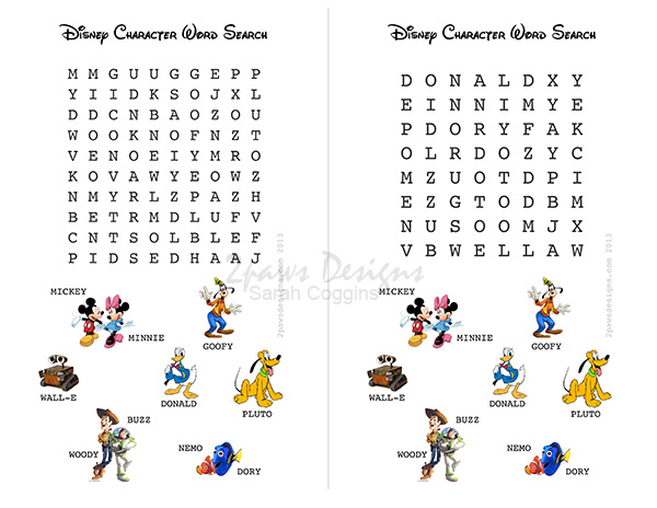 Friday Freebie: Disney Character Word Search