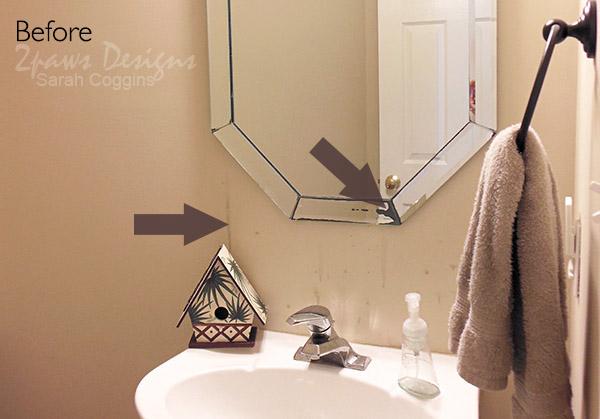 Half Bath Before Remodel: Existing Mirror #foreclosuretohome