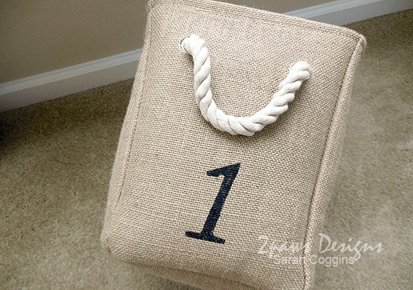 DIY Numbered Burlap Basket: Painted