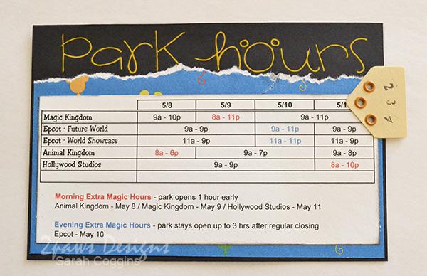 Disney Trip Envelope 2013: Park Hours