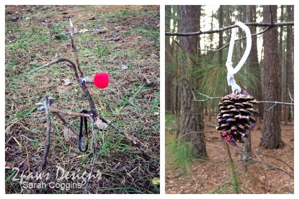 Christmas Nature Crafts: Stick Rudolph and Simple Pinecone