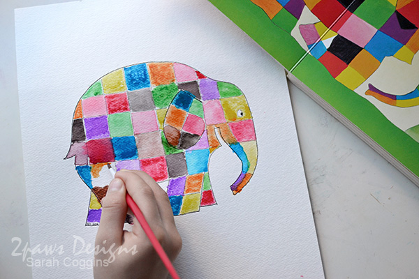 Elmer Elephant inspired Painting: Watercoloring