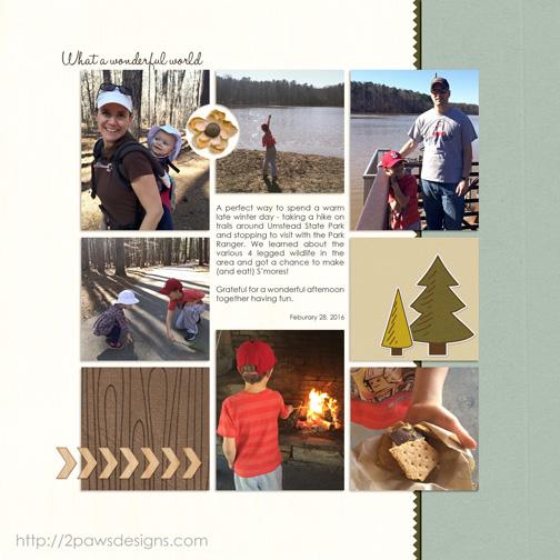 Umstead State Park digital scrapbooking page