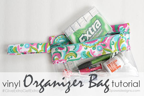 Small Vinyl Organizer Bag Tutorial #GiveExtraGetExtra #ad #cbias