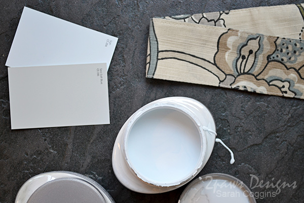Project Kitchen: Paint Samples with Curtain Fabric #foreclosuretohome