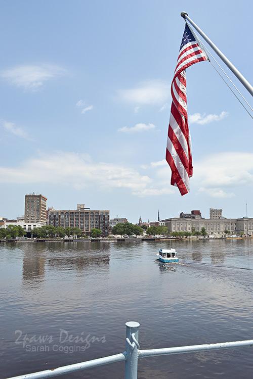 USS North Carolina - American Flag
