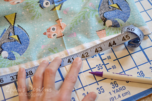 Finding Dory Fabric: Mark Measurements for Pillow