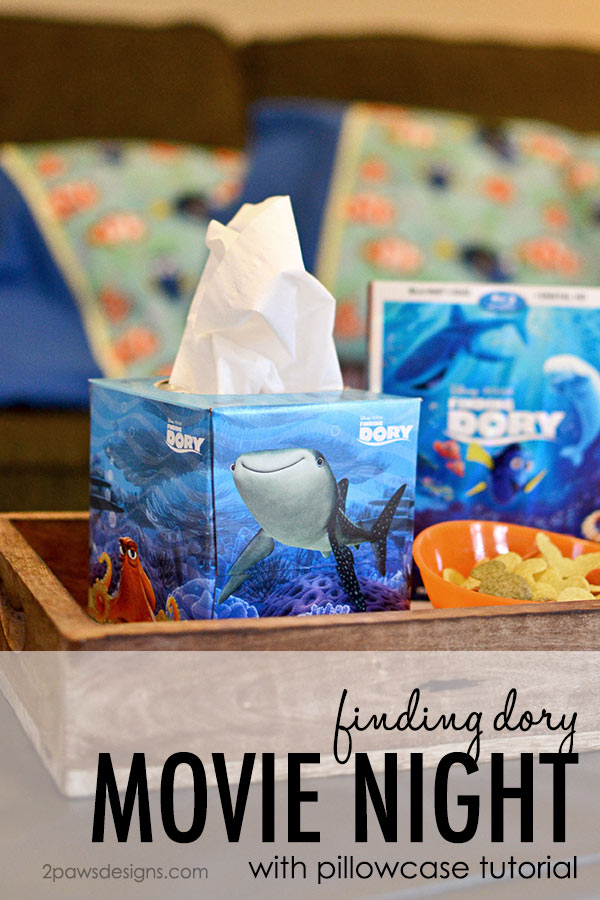 Finding Dory Movie Night with Pillowcase Tutorial #FamilyMovieWithKleenex #ad
