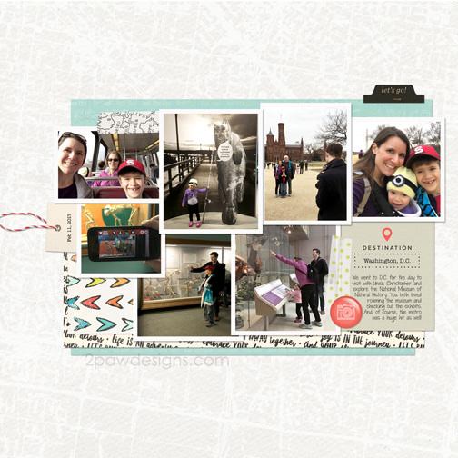 Washington DC February 2017 digital scrapbook page