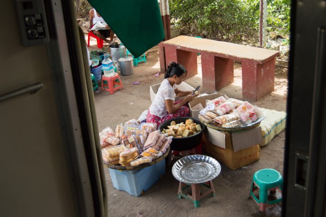 Market at a station.