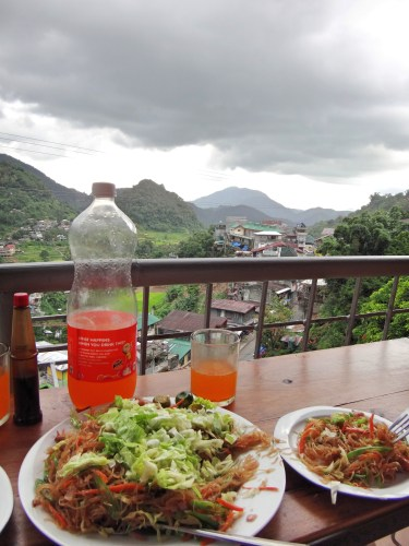 Royal Tru-Orange, pancit, and the view from 7th Heaven's Cafe on a rainy afternoon.