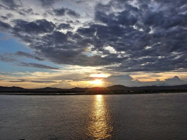 Sunset over Ayeyarwaddy River.